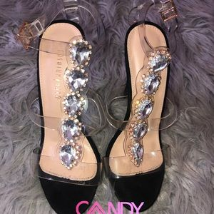 Clear Diamond Bling Open Toe Heels